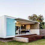 Living Modern Small Homes Wood Deck Elegant Lamp Blue Bed White Pillows