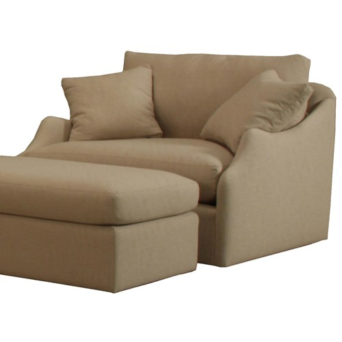 Charming Living Room Chair With Comfy Padding And An Ottoman Furniture