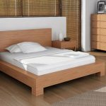 Loft Bed Frame With Headboard For Modern Bedroom White Pillows White Bedding And White Bedcover Modern Wood Bedside Tables Modern Wood Cabinet Systems