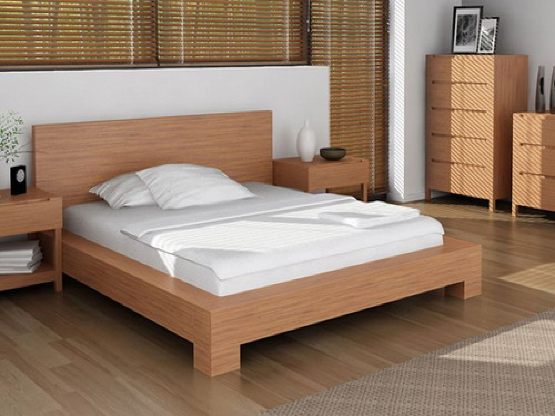 Wooden bed frame ideas - Loft Bed Frame With Headboard For Modern Bedroom White Pillows White Bedding And White Bedcover Modern