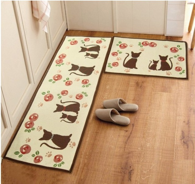 Longer Kitchen Mat And Small Kitchen Mat In Similar Picture Design