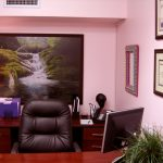 Luxurious black leather office chair a computer desk with computer screen wood office desk with drawer system a file organizer a classic table lamp large framed painting of nature pink wall paint