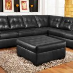 Luxurious black leather sectional sofa with single chaise black leather ottoman furniture wool area rug wooden floors idea