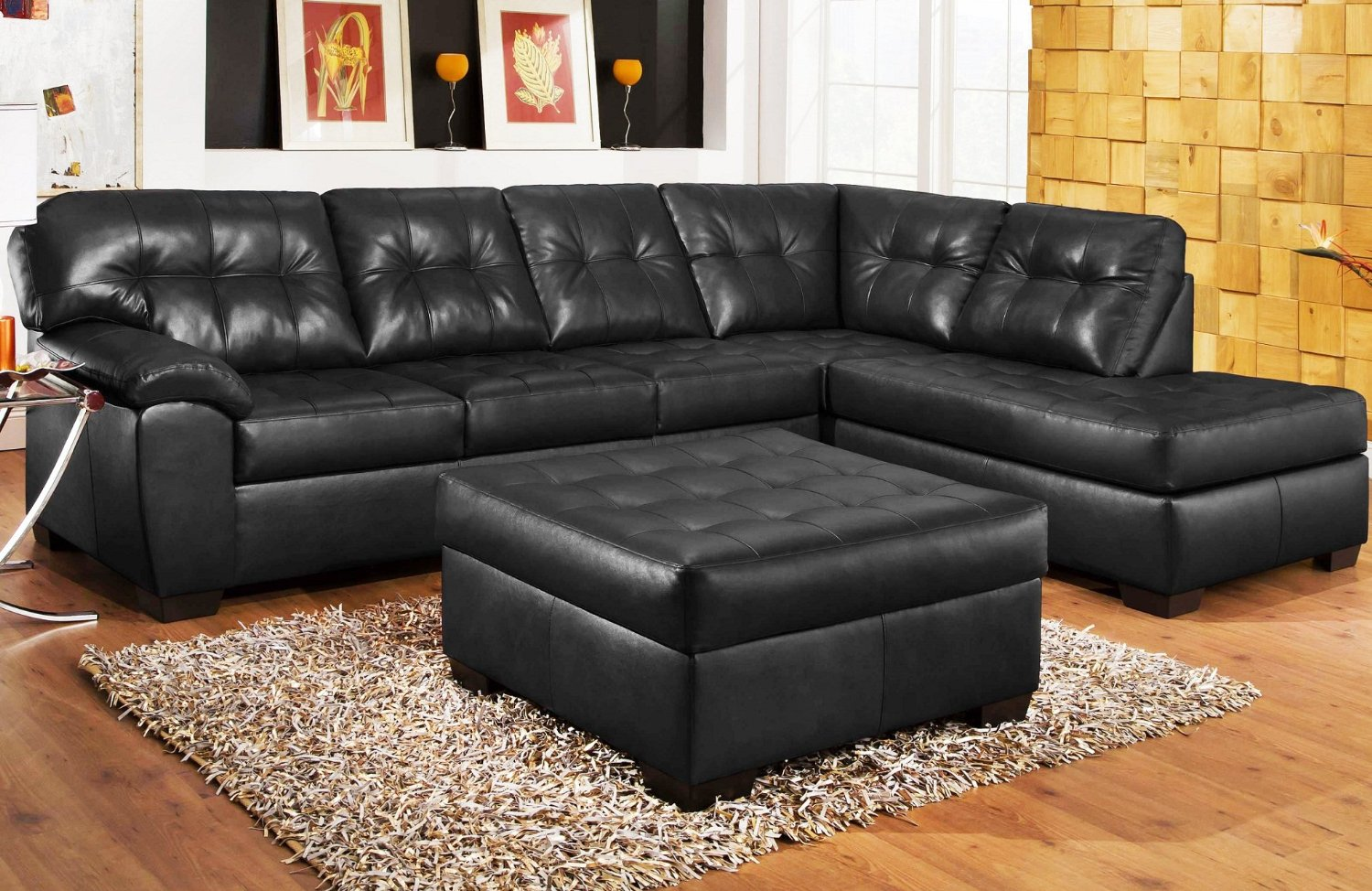 Luxurious Black Leather Sectional Sofa With Single Chaise Black Leather  Ottoman Furniture Wool Area Rug Wooden