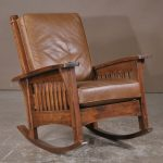 Mission style rocking wood chair with leather cushion