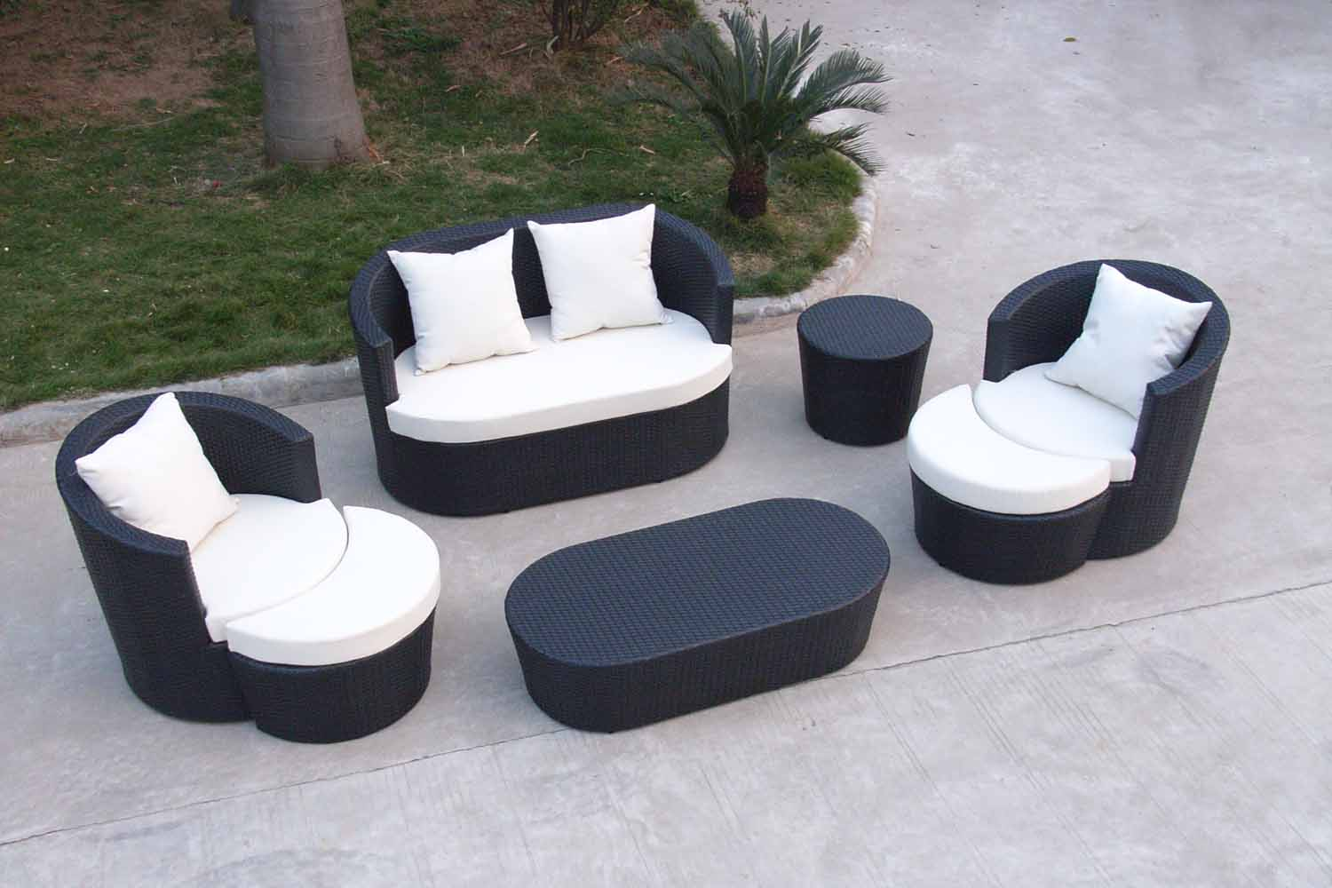 Black wood patio furniture - Modern Black Stained Wood Patio Furniture With White Cushions And Pillows Black Stained Wood Side Table