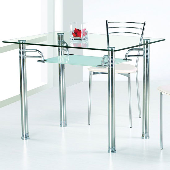 Modern Minimalist Glass Top Table With Stainless Steel Legs Stainless Steel  Dining Chair With White Cushion