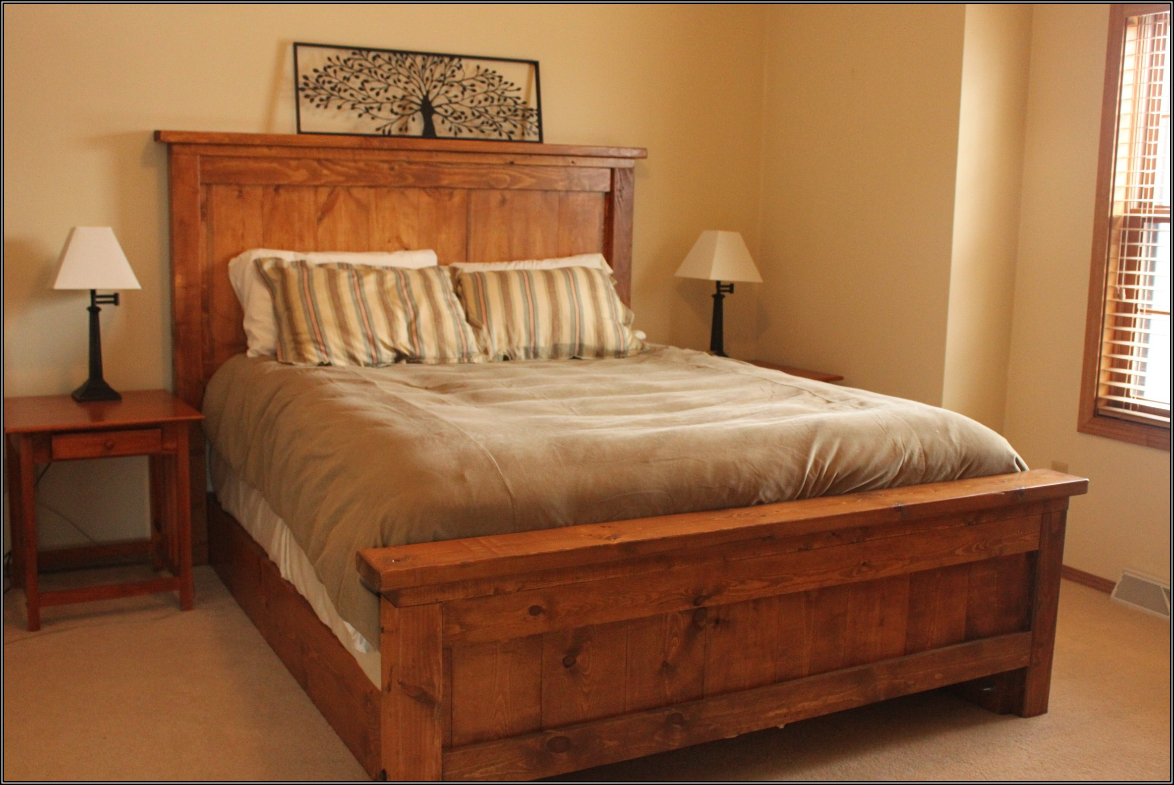 Modern rustic bed frame idea with high