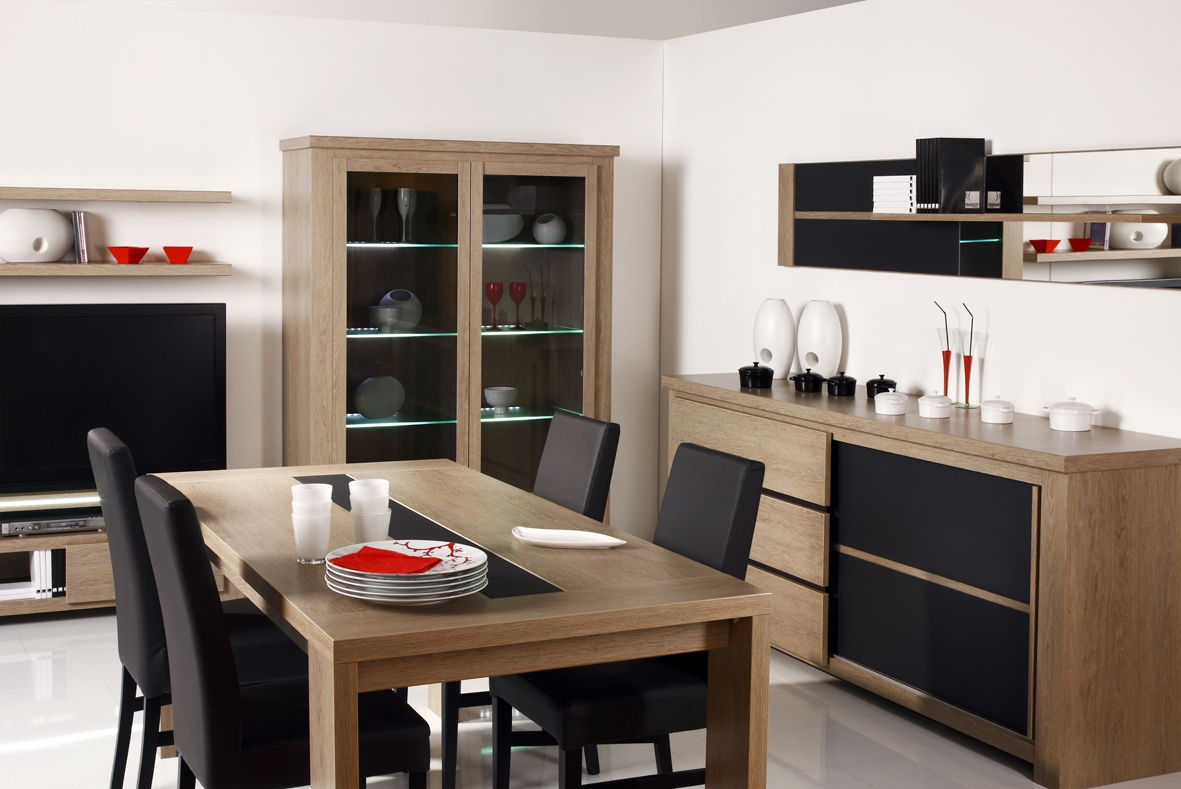 Furniture For Dining Room With Modern Buffet Table Glass Cabinet Storage Wooden Black Leather Chair Small Lcd Led Tv