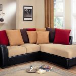Modern sectional sofa with cream cushion and multiple colors throw pillows
