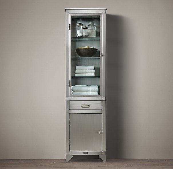 Tall cabinet system ideas homesfeed for Metal bathroom storage cabinet