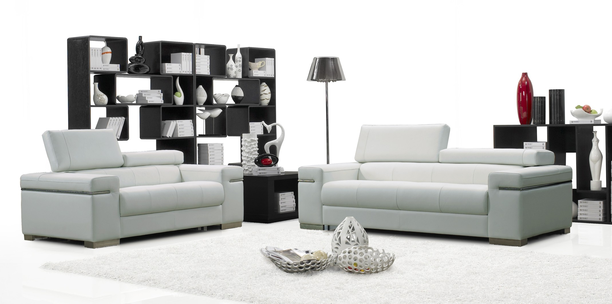 modern furniture style. Modern White Sofas With Headrest Area Rug Large Black Shelving Unit For Books And Decorative Furniture Style