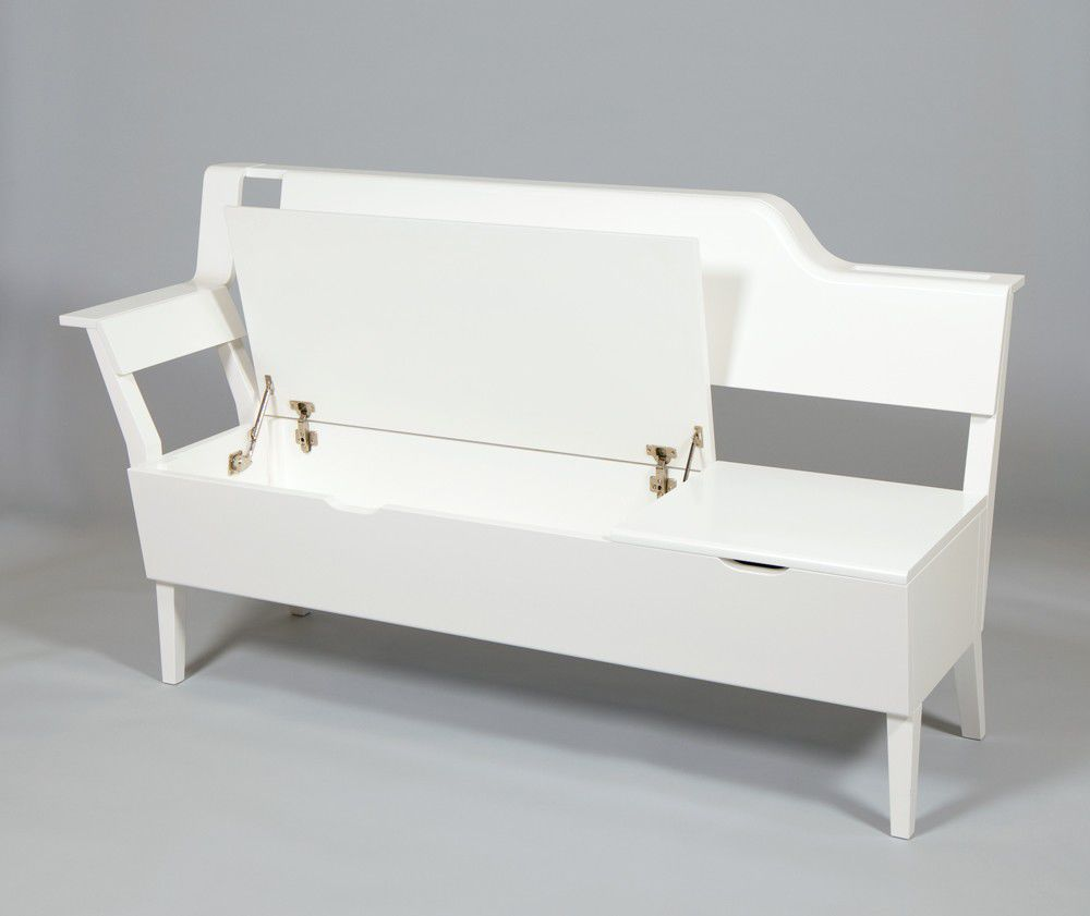 White Wood Storage Bench Practical And Doubled Functional Storage Solution Homesfeed