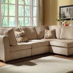 Modular sectional sofa idea in light brown two decorative pillows  jute rug idea