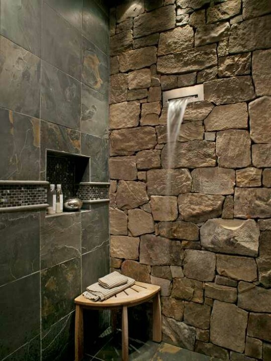 Bon Natural Stones Shower Wall System A Wooden Corner Bench Permanent Shower  Wall Shelf For Putting Bathing