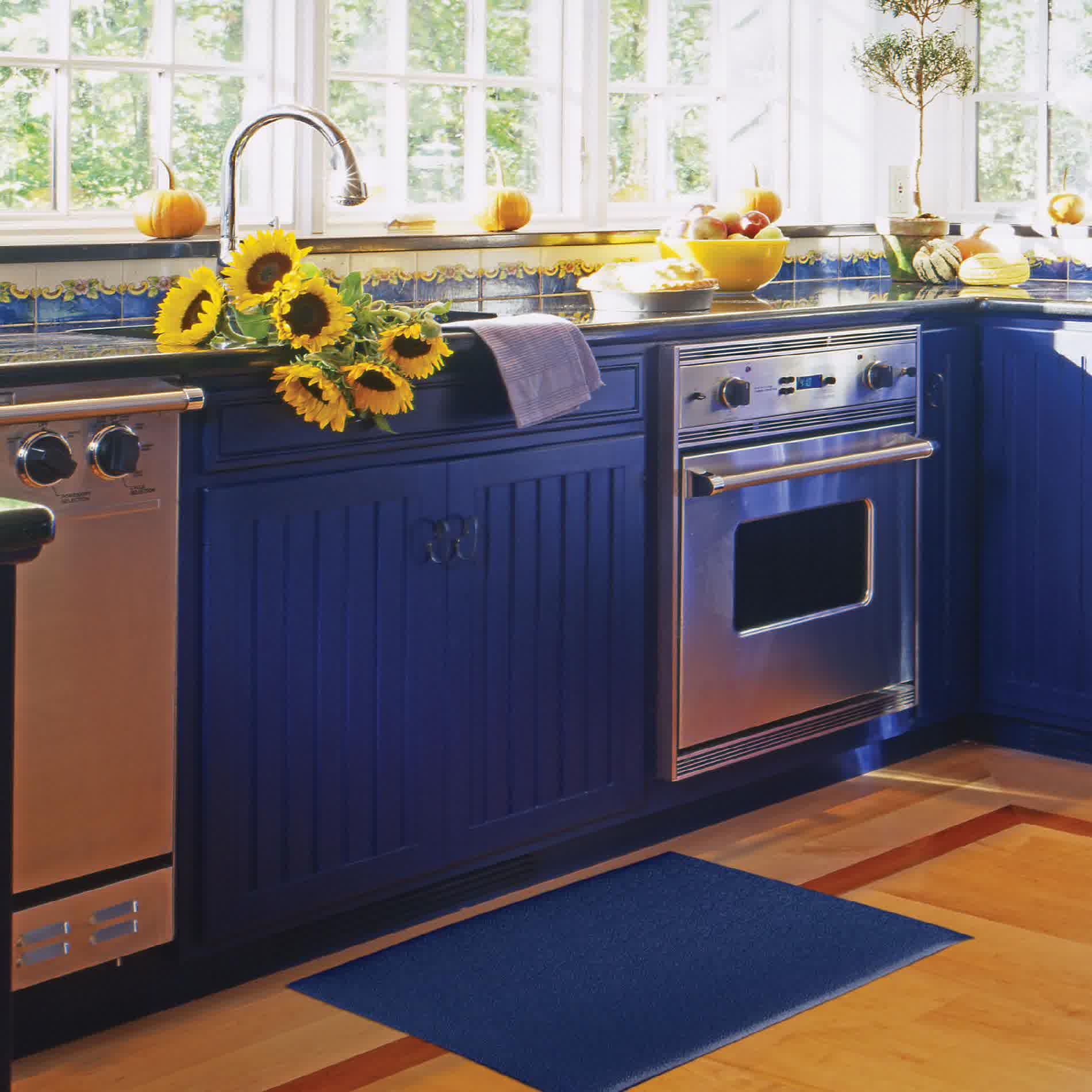Ocean Blue Kitchen Mat Deep Cabinet System The Garden Windows With Small Pumpkins Decoration