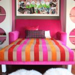 Pretty colorful double sleeper sofa idea with colorful pillows white wool bedroom rugs idea unique and cool shelving unit