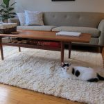Pure white shag rug IKEA a cozy sofa with decorative pillows wooden coffee table with under shelf a rattan storage box