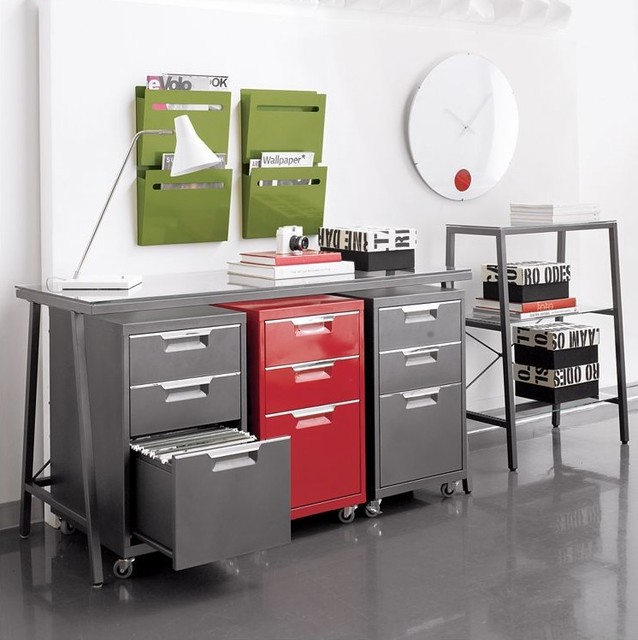 Genial Red Gray Stylish Filing Cabinets By CB2 Grey Tile Floor Office Room Green  Wall Filling Storage