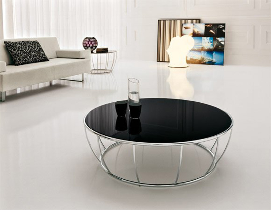 Round Black Glass Top Table With Steel Legs For Minimalist Living Room A  White Sofa With