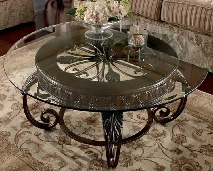 Round Gl Top Table No Frame Dark Coated Iron Base
