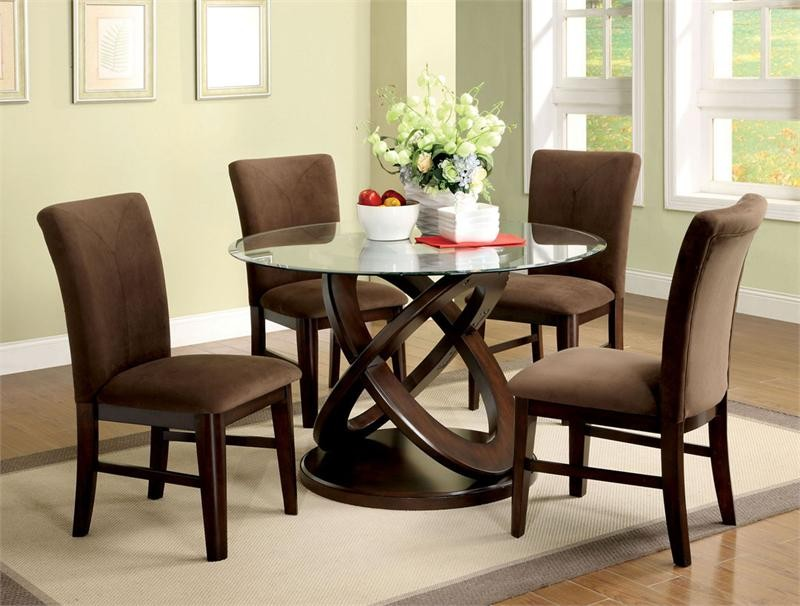 round glass top table with artistic wood legs elegant brown dining chairs white rug with bold - Kitchen Glass Table