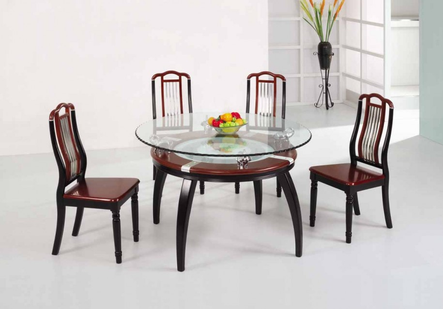 Round Glass Top Table With Additional Shelf Made Of Wooden Luxurious Chairs For Dining Room
