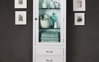 Semi classic higher cabinet design in white several white framed picture as wall decoration