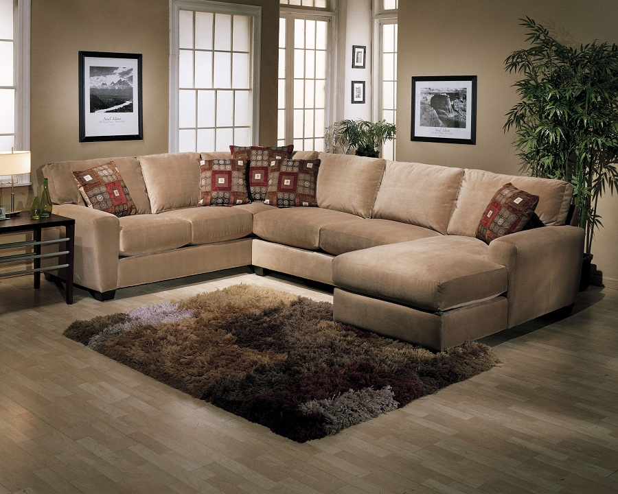 Simple U shape sectionals in light brown beautiful throw pillows smaller wool rug in neutral color : light brown sectional sofa - Sectionals, Sofas & Couches