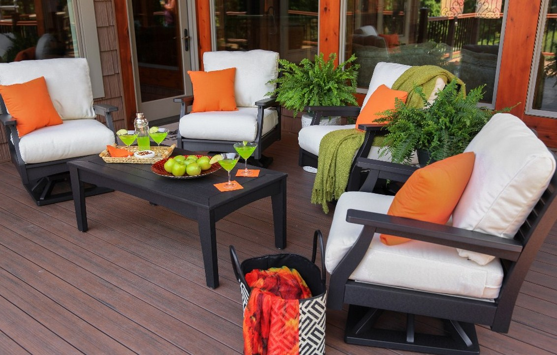 Simple Black Stained Wood Chairs With White Cushions And Orange Throw  Pillows For Patio Wood Planks