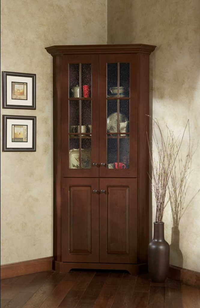 Lovely Simple Classic Corner Hutch Storage In Dark Stain Color Good Looking