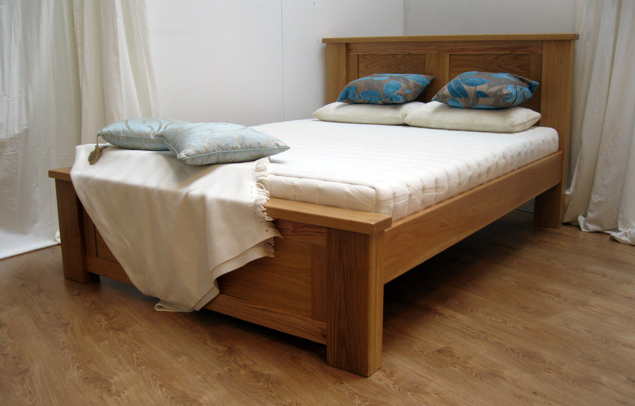 Simple modern wood bed frame with headboard white bedding white ...