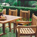 Simple wooden close out patio furniture made of wood planks
