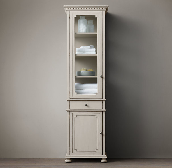 single door tall cabinet with glass door and drawer