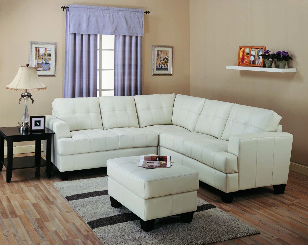 Slim Sectional Sofa In White For Living Room A White Ottoman Furniture Small  Wool Area Rug