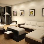 Slim white sectional with chaise modern white coffee table black wool area rug  two chairs with thicker white cushions two wood backless chairs
