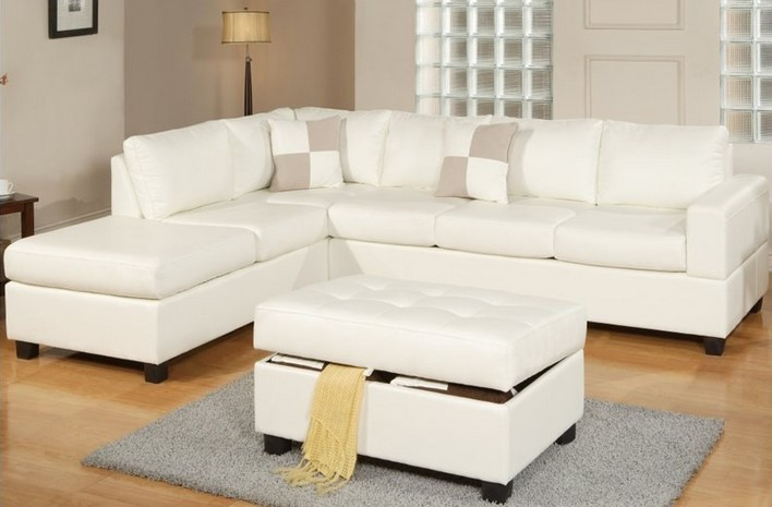Slim White Sectional With Single Chaise And White Light Brown Throw Pillows  White Ottoman With Linen
