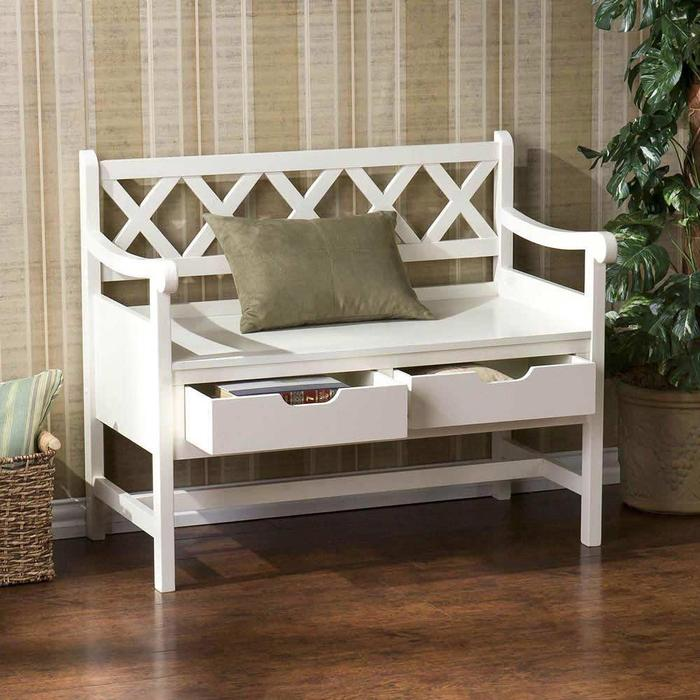 small bench with backrest feature a throw pillow and drawer system underneath