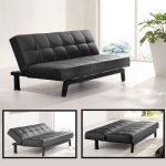 Sofa bed design in elegant black leather coat