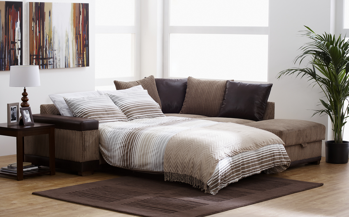 Sofa Bed Furniture With Strips Pattern Neutral Colored Pillows And Brighter Linen A Black