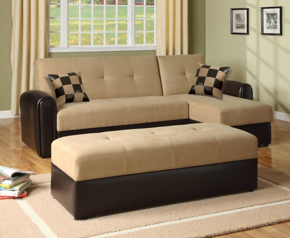 Soft Brown Sectional Sofa Bed With Single Chaise And Cool Throw Pillows  Smooth And Soft Cream