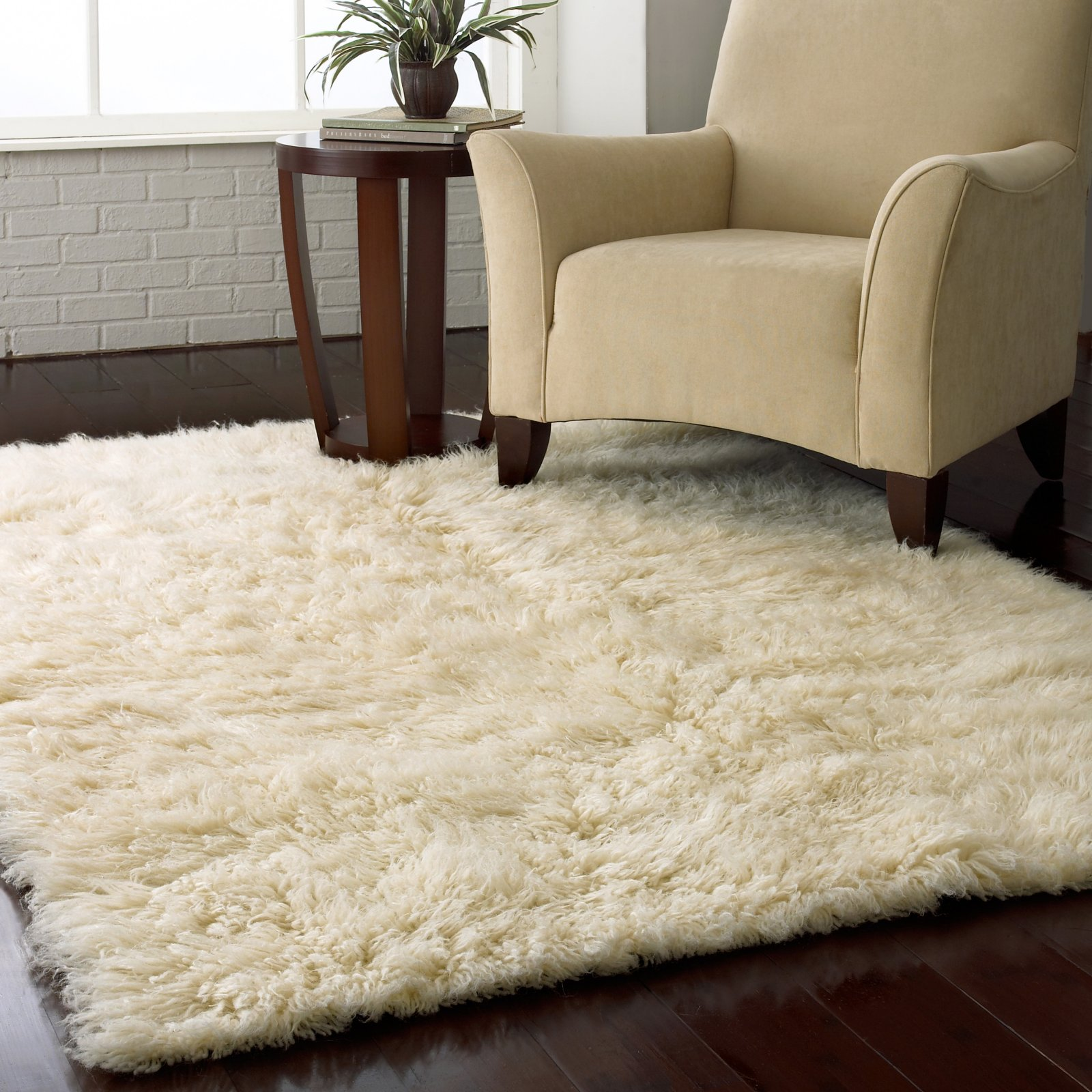 Soft White Shag Rug Ikea In Medium Size An Arm Chair A Wooden Side Table Glossy