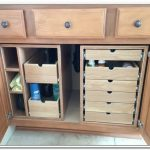 Some additional drawer systems and boxes made of wooden on under bathroom sink storage