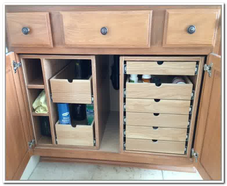 drawer systems and boxes made of wooden on under bathroom sink storage