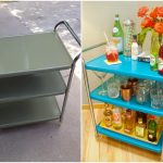 Stainless steel cocktail cart design with blue shelves and transparent wheels