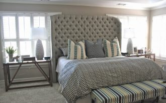 Tall free standing headboard idea a king bed furniture with bench larger bedside table for table lamps and decorative items