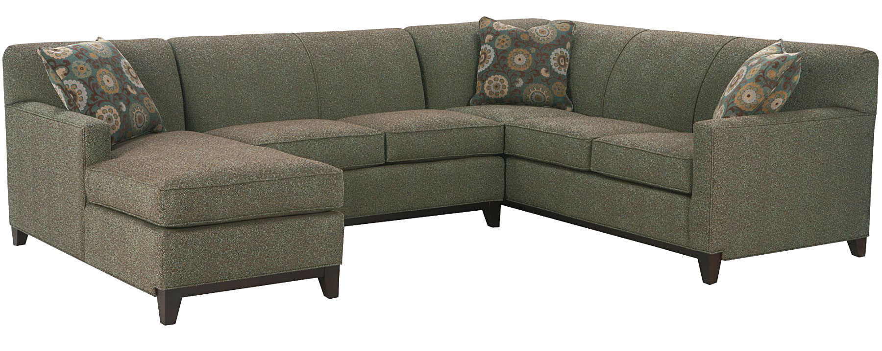 Back Sectional Sofa In Grey Three Throw Pillows