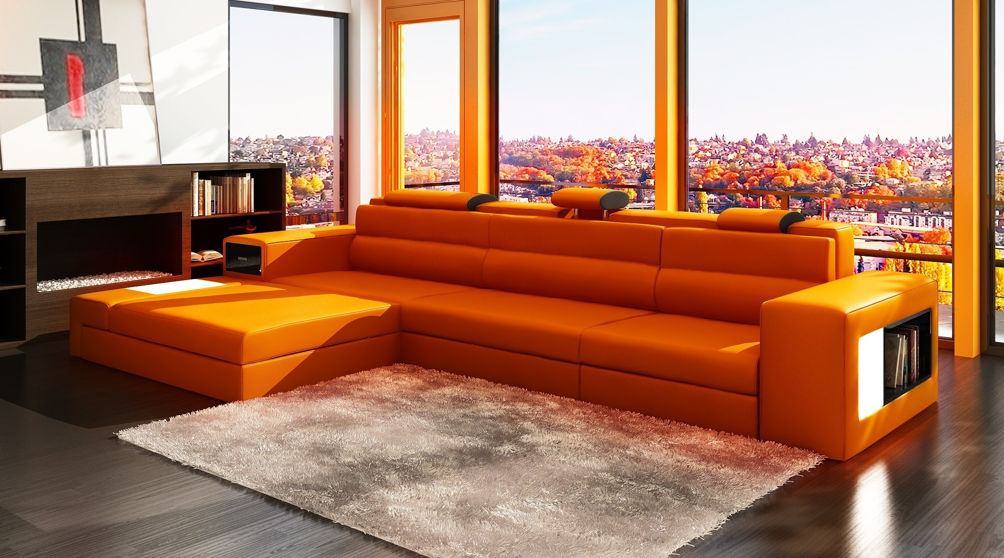 top floor living room bold orange recliners soft fur carpet wooden