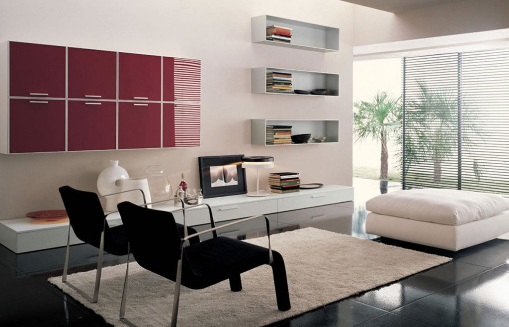Two Black Chairs And A White Ottoman In Modern Style Wool Area Rug Idea Wall