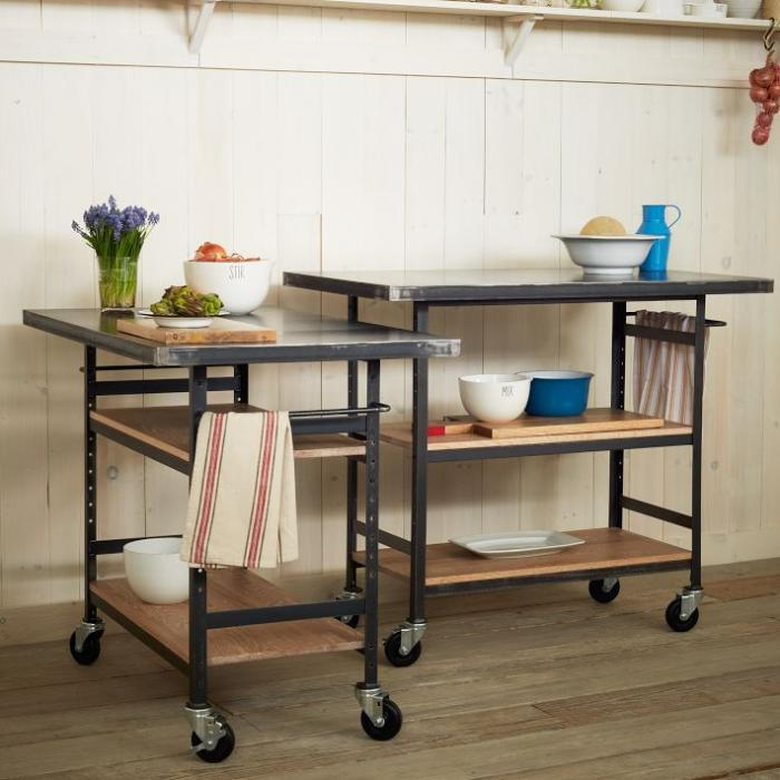 Two Units Of Lightweight Metal Cart With Wheels And Shelves